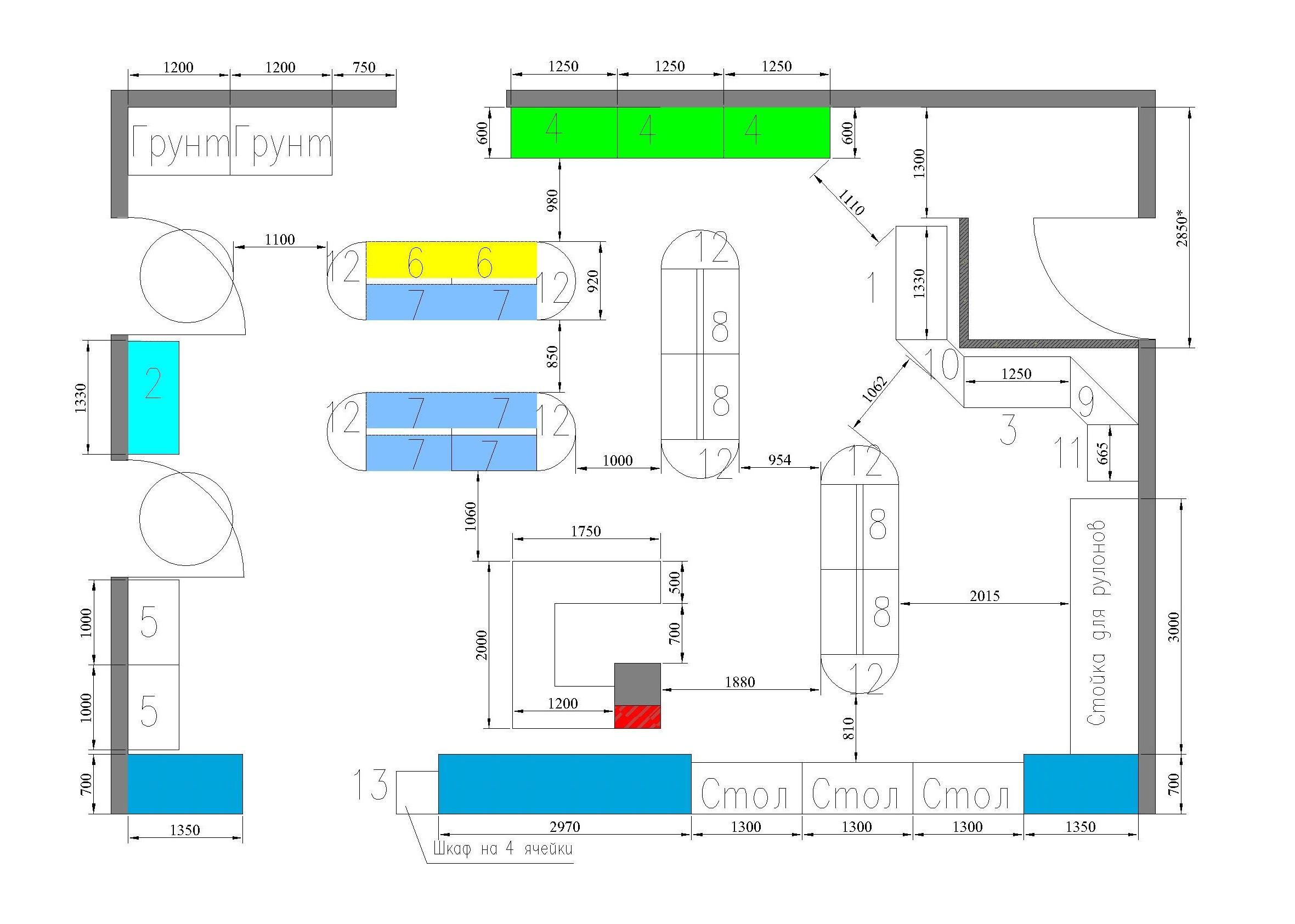 2Д чертеж растановки торгового оборудования
