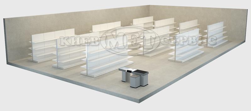 Схема расстановки оборудования в магазине  Установлены в основном  двухсторонние торговые стеллажи ... bba406a5fdb